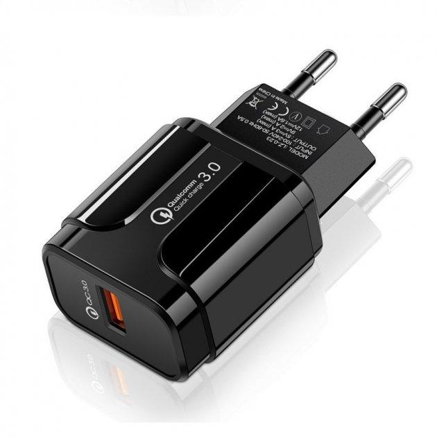 Мережевий зарядний пристрій швидка зарядка адаптер Qualcomm Quick Charge 3.0 / QC 3.0 чорний (QC-21951) - зображення 1