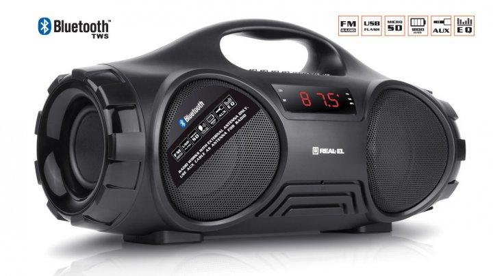 Портативный музыкальный центр бумбокс REAL-EL X-727 Black - изображение 1