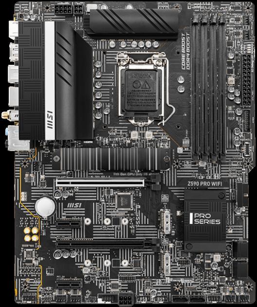 Материнская плата MSI Z590 Pro WIFI (s1200, Intel Z590, PCI-Ex16) - изображение 1