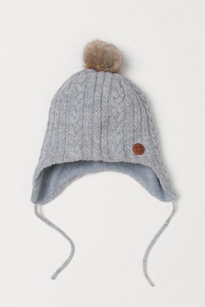 Зимняя шапка с завязками H&M 0739933 0 52-54 см Серая (2000001740569) - изображение 1