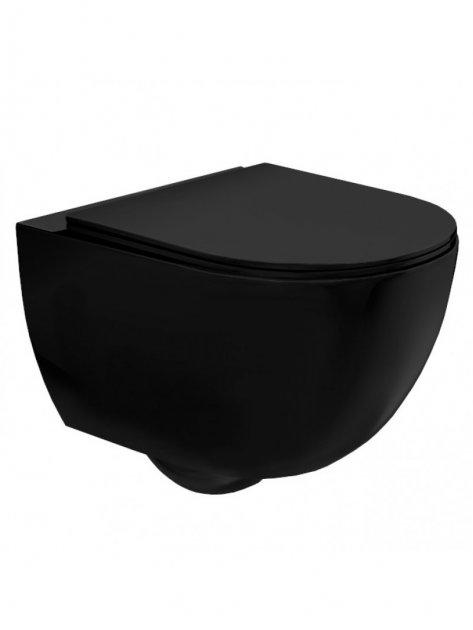 Унітаз підвісний Rea CARLO MINI RECTANGULAR FLAT BLACK MAT (З-8489) + сидіння Slim soft-close - зображення 1