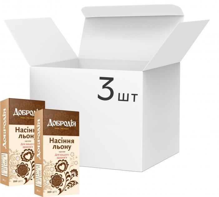 Упаковка насіння льону харчового Добродія 350 г х 3 шт (4820182202612) - зображення 1