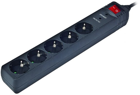 Мережевий фільтр EnerGenie SPG5-C-10 3 м 5 розеток Black - зображення 1