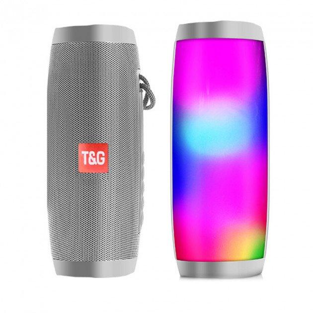 Переносная Bluetooth колонка T&G 157 Pulse Портативная с разноцветной подсветкой, громкая связь. Серая - изображение 1