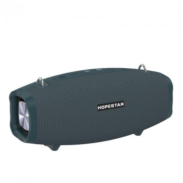 Беспроводная портативная bluetooth колонка с караоке микрофоном с функцией Connect plus TWS 1+1 Sound System X Hopestar с Влагозащитой IPX6 и функцией Зарядки устройств Голубая - изображение 1