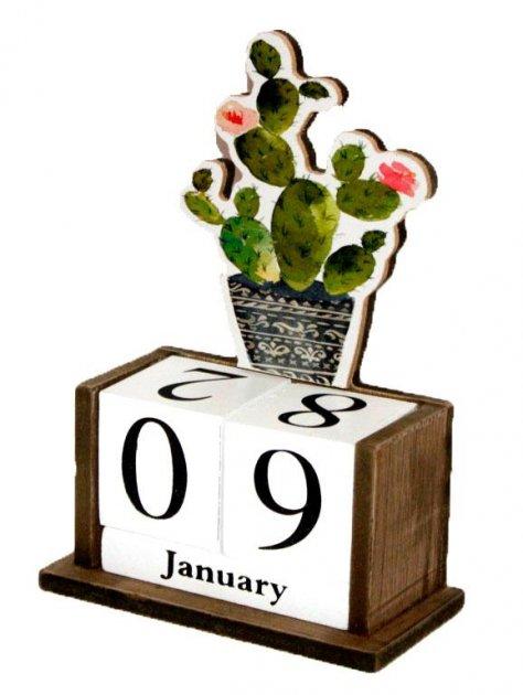 """Вічний календар """"Кактус і квіти"""" Розмір: 14,5-7-20 см (80254/3079-3) - зображення 1"""