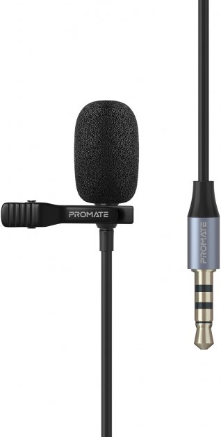 Микрофон Promate ClipMic-AUX 3.5 мм Black (clipmic-aux.black) - изображение 1