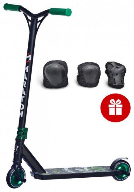 Самокат трюковий Maraton Scorpion чорно-зелений+Комплект захисту в подарунок - зображення 1