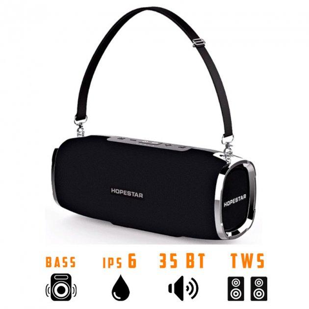 Портативная беспроводная Bluetooth колонка Hopestar A6 35Вт Black с влагозащитой IPX6 и функцией зарядки устройств (A6B) - изображение 1