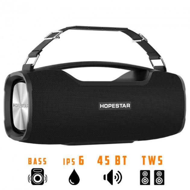 Портативная беспроводная Bluetooth колонка Hopestar A6 Pro 45Вт Black с влагозащитой IPX6 и функцией зарядки устройств (A6P) - изображение 1