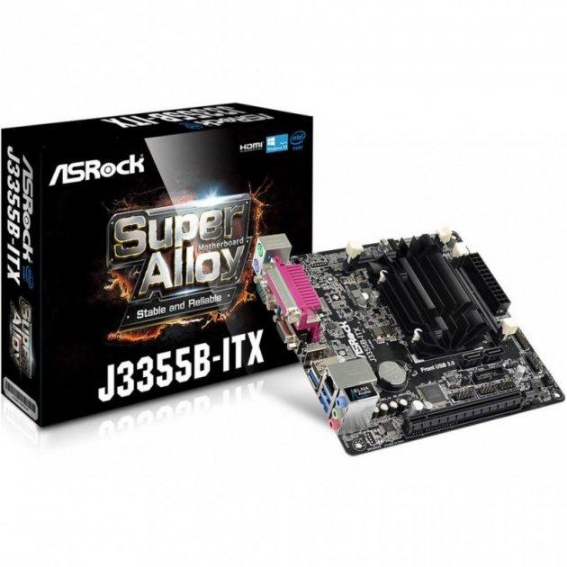 Материнська плата ASRock J3355B-ITX (FCBGA1296, Intel Celeron J3355 2x2.0 ГГц, 2xDDR3, DDR3L-1866 МГц, 1xPCI-Ex16, аудіо 7.1, Mini-ITX) - зображення 1