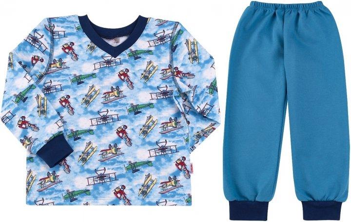 Пижама (футболка с длинными рукавами + штаны) Бемби ПЖ41 92 см Голубо-синяя (13041011537.481) - изображение 1