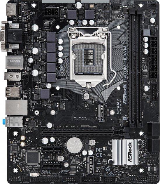 Материнська плата ASRock H470M-HDV/M.2 (s1200, Intel H470, PCI-Ex16) - зображення 1