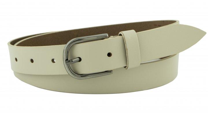 Женский кожаный узкий ремень Mr.Cayman 3 см для джинсов или платья светло-бежевый 100-120 см (MC111389) - изображение 1