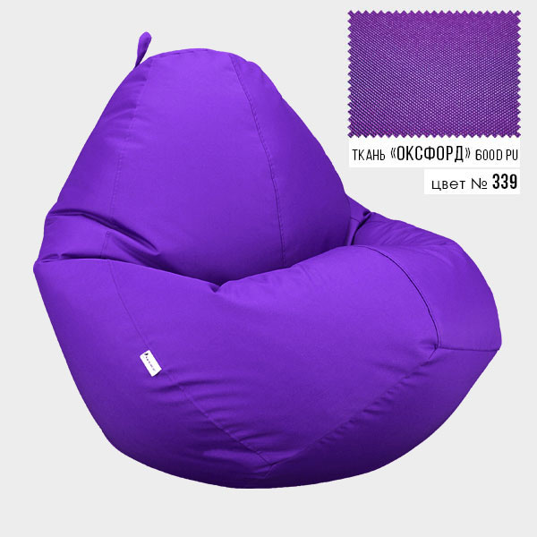 Безкаркасне крісло мішок груша Овал Coolki XXXL 100x140 Фіолетовий (Оксфорд 600D PU) - зображення 1