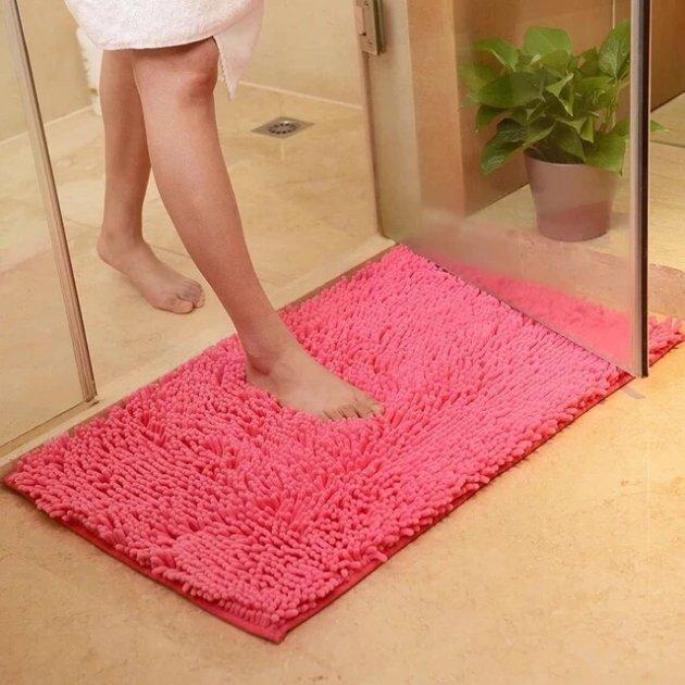 Коврик для ванной лапша 115*75 см. Розовый - изображение 1