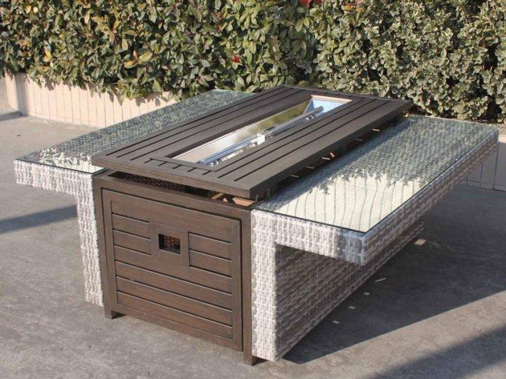 Прямоугольный уличный газовый стол-камин Hudson GRILLI 132*120 cm - изображение 1
