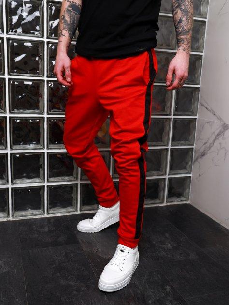 Мужские спортивные штаны Асос BD2356 рM красные с черным лампасом - изображение 1
