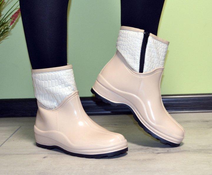 Ботинки полусапожки W-shoes 118b резиновые непромокаемые утепленные флисом по всей длине бежевые женские 37 (23.5 см) b-218 - изображение 1