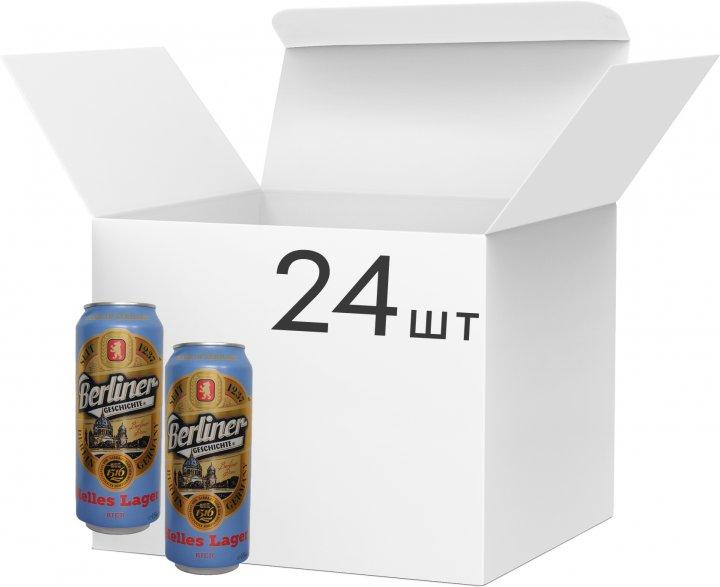 Упаковка пива Berliner Geschichte Helles Lager светлое фильтрованное 4.1% 0.5 л х 24 шт (4015576056906) - изображение 1