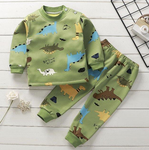 детский костюм з динозаварами зеленого цвета 120см - изображение 1