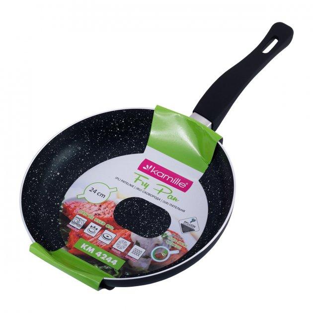 Сковорода Kamille 24*4см с мраморным покрытием из алюминия без крышки KM-4244MR - изображение 1