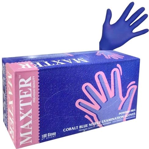 Перчатки нитриловые одноразовые нестерильные без пудры Maxter 2.2 Mil размер M 100 шт - 50 пар Синие (1500003613) - изображение 1