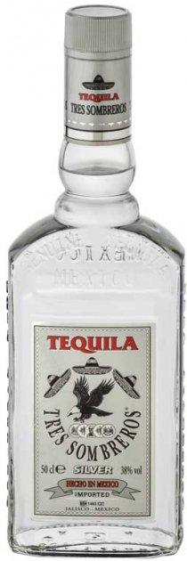 Текила Tres Sombreros Silver 38% 0.5 л (14771865393_8414771865393) - изображение 1