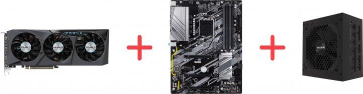Gigabyte PCI-Ex GeForce RTX 3070 EAGLE OC 8G 8 GB GDDR6 (256 bit) (2 х HDMI, 2 x DisplayPort) (GV-N3070EAGLE OC-8GD + Z390 D + P750GM) + Материнская плата Gigabyte Z390 D + Блок питания Gigabyte P750GM 80+ Gold Modular в подарок! - зображення 1