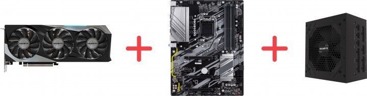 Gigabyte PCI-Ex GeForce RTX 3070 Gaming OC 8G 8 GB GDDR6 (1815/14000) (256 bit) (2 х HDMI, 2 x DisplayPort) (GV-N3070GAMING OC-8GD + Z390 D + P750GM) + Материнская плата Gigabyte Z390 D + Блок питания Gigabyte P750GM 80+ Gold Modular в подарок! - зображення 1