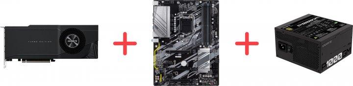 Gigabyte PCI-Ex GeForce RTX 3090 Turbo 24GB GDDR6X (384bit) (1695/19500) (2 х HDMI, 2 x DisplayPort) (GV-N3090TURBO-24GD + Z390 D + P1000GM) + Материнская плата Gigabyte Z390 D + Блок питания Gigabyte P1000GM 80+ Gold Modular в подарок! - зображення 1