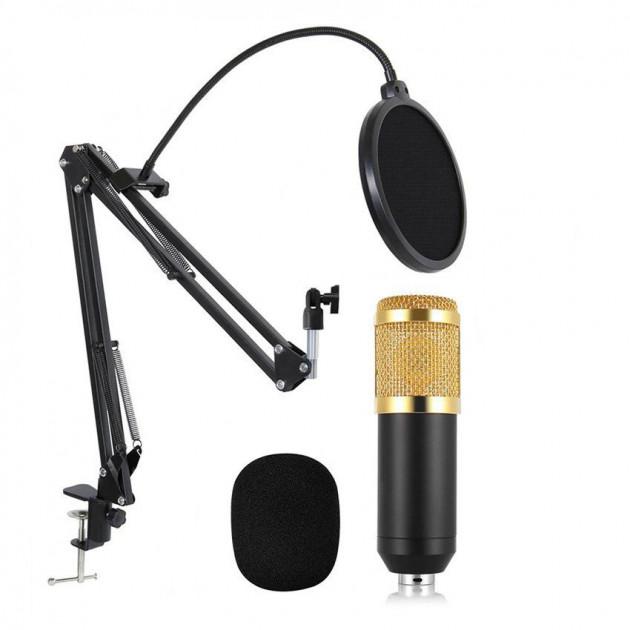 Конденсаторний студійний мікрофон M-800 PRO-MIC USB зі стійкою і вітрозахистом Чорний - зображення 1