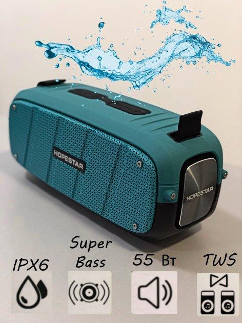 Портативна бездротова потужна bluetooth колонка Sound System A20 Pro Hopestar Оригінал 55ВТ з Вологозахистом IPX6 і функцією Зарядки пристроїв Блакитна - зображення 1