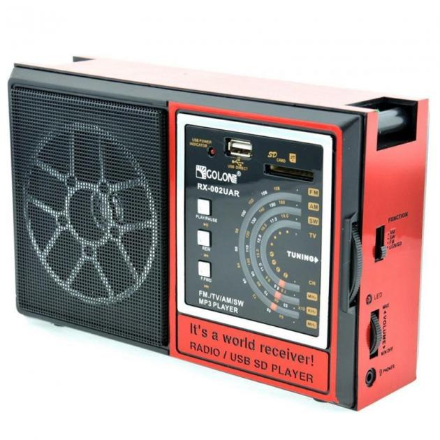 Радіоприймач всехвильовий портативний мережний і акумуляторний з телескопічною антеною Цифрове міні радіо GOLON RX-002UAR з USB mp3, WMA бездротовий FM/AM - зображення 1