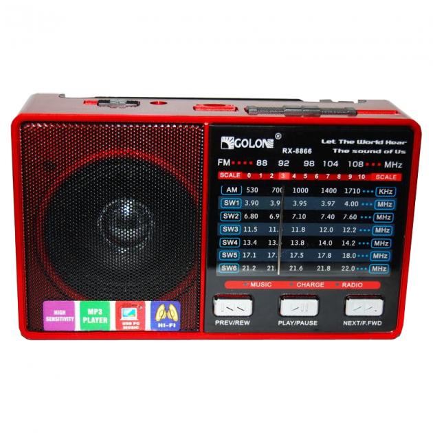 Радіоприймач всехвильовий портативний мережний і акумуляторний з телескопічною антеною Цифрове міні радіо GOLON RX-8866 з USB mp3, WMA бездротовий FM/AM - зображення 1