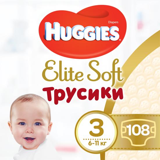 Трусики-подгузники Huggies Elite Soft Pants 3 (M) 108 шт (5029053547091) - изображение 1
