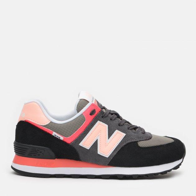 Кроссовки New Balance WL574ST2 36.5 (7) 24 см Черные с розовым (195173226309)
