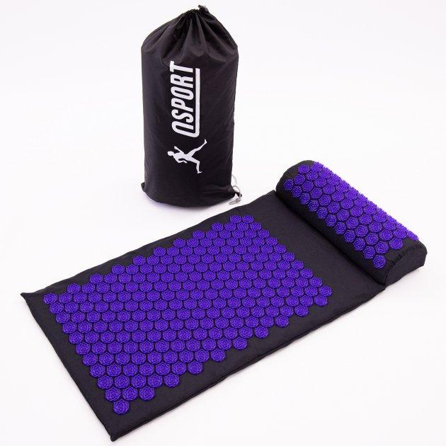 Масажний килимок і валик (аплікатор Кузнєцова) масажер для спини/шиї/тіла OSPORT Lotus Mat Eco (apl-021) Чорно-фіолетовий - зображення 1