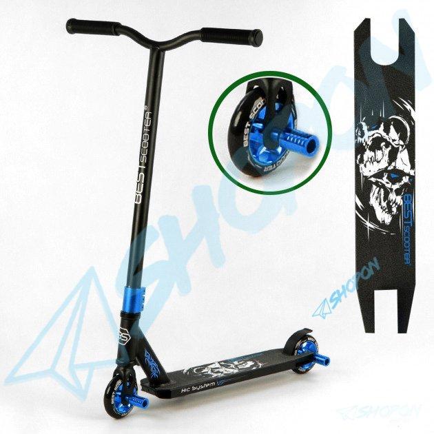 Самокат трюковий з алюмінієвими колесами 2 пеги в комплекті Best Scooter (DIMSA-031-1N), Чорний з синім - зображення 1