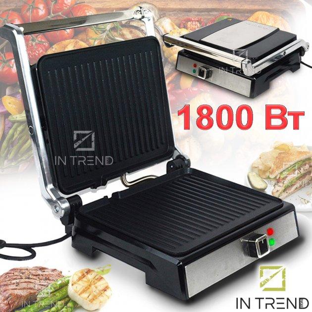 Гриль DSP KB1048 Электрический контактный 1800 W от сети - прижимной электро-гриль со съёмным поддоном для приготовления мяса овощей и рыбы с антипригарным покрытием, Серебристый - изображение 1