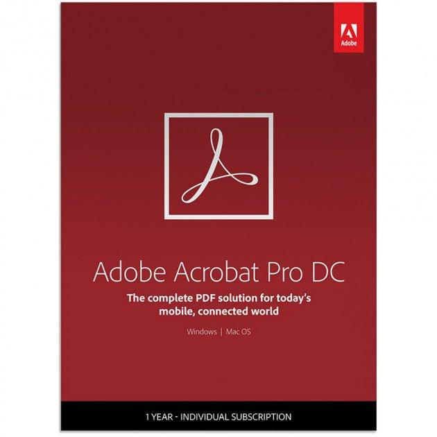 Adobe Acrobat Pro DC for teams. Ліцензія для комерційних організацій і приватних користувачів, річна передплата на одного користувача в межах замовлення від 10 до 49 (65297934BA02A12) - зображення 1