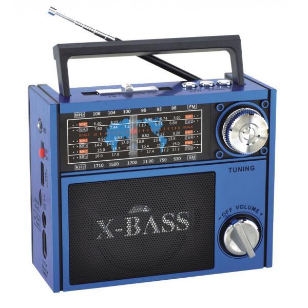 Акустична система Golon всехвильовий радіоприймач колонка з радіо ліхтар USB, SD FM Синій (RX-201) - зображення 1