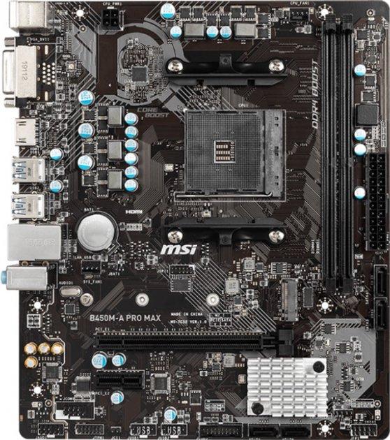 Материнская плата MSI B450M-A Pro Max (sAM4, AMD B450, PCI-Ex16) - изображение 1
