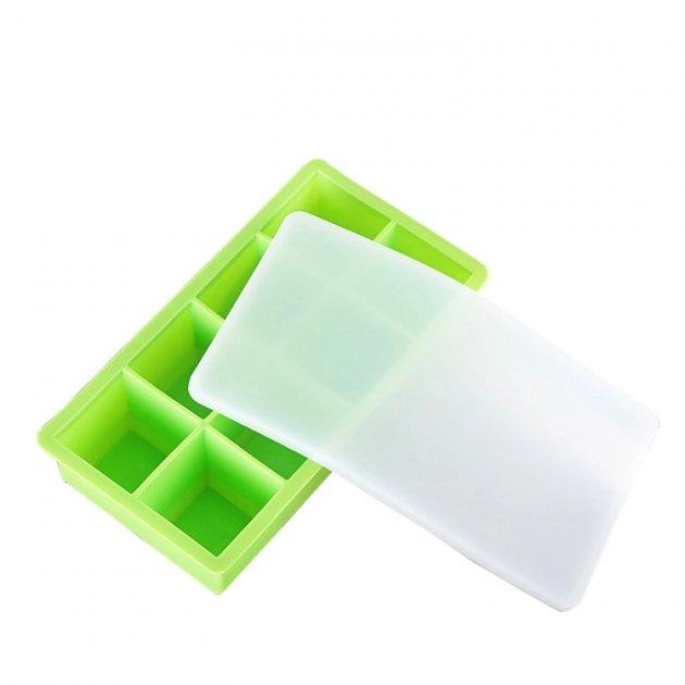 Силиконовая форма для льда с крышкой ICE BAR 8 кубиков по 5 х 5 см зеленая (SRICELIDGRN01) - изображение 1