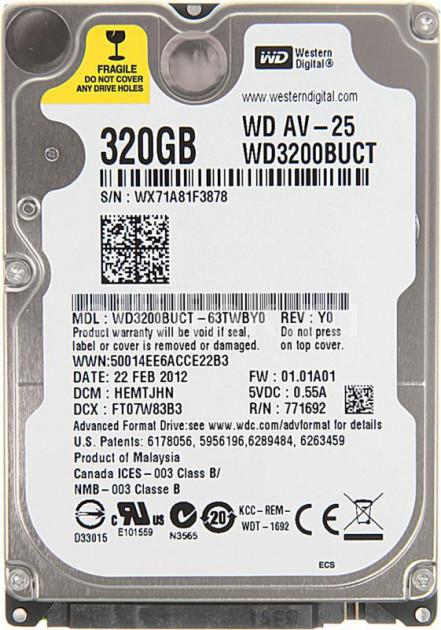 """Жесткий диск Western Digital 320ГБ 5400об/м 16МБ 2.5"""" SATA II (WD3200BUCT) New - изображение 1"""