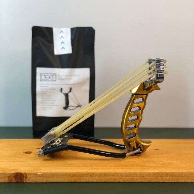 Металева мисливська рогатка для полювання DEXT Gold Pro 2.0 з ліктьовим упором і магнітним утримувачем - зображення 1
