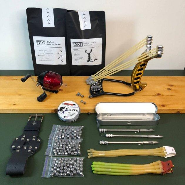 Металлическая рогатка для рыбалки и охоты DEXT Gold Pro 2.0 Стандартный набор с локтевым упором для Боуфишинга Bowfishing - изображение 1