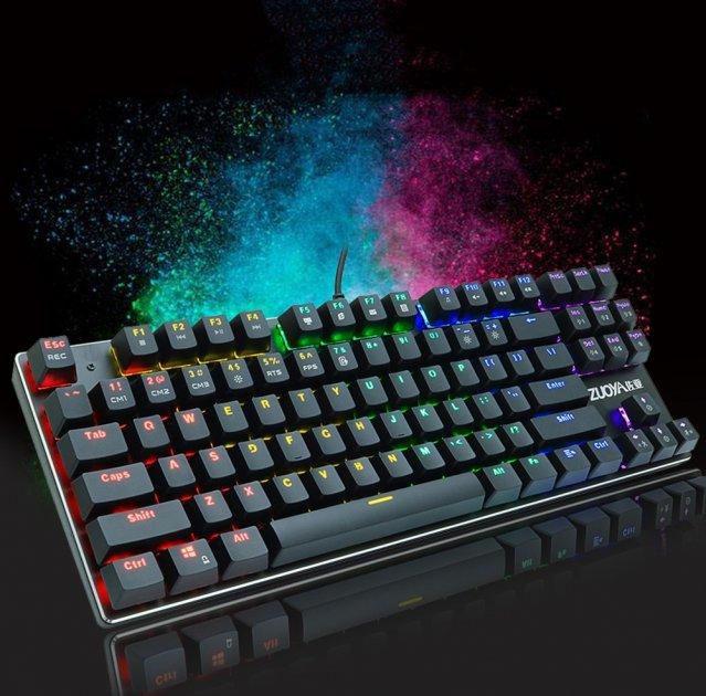 Игровая механическая проводная клавиатура ZUOYA Х61 с подсветкой RGB 87 клавиш Русский/Английский Синие переключатели (sv0264) - изображение 1