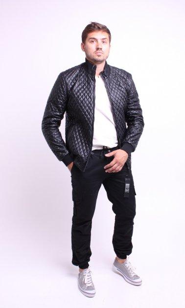 Куртка экокожа ZIBSTUDIO ромбы мелкие 2XL Чёрная (6157353) - изображение 1