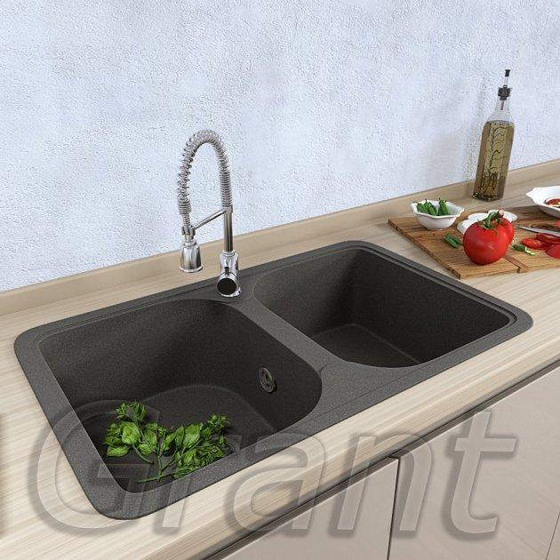 Гранітна плита, мийка Grant Quadro сіра - зображення 1